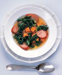 Sweet Potato, Kielbasa and Kale Soup